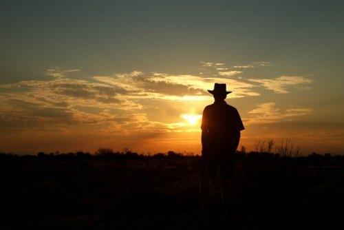 farmer sunset